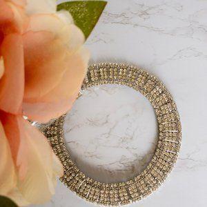 Thalia Sodi Silver Tone Rhinestone Choker Necklace